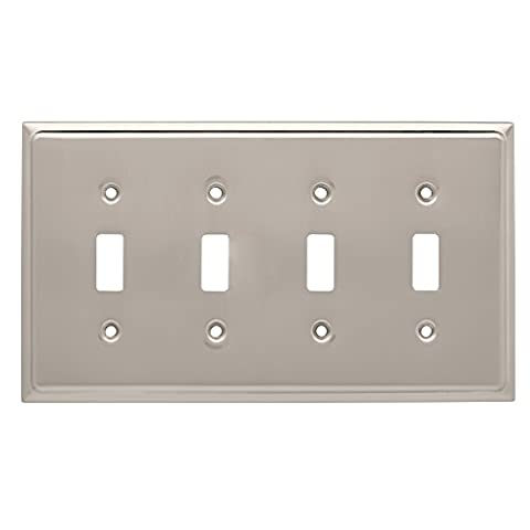 Franklin Brass 126477 Country Fair 4 Toggle Switch Wall Plate, Satin Nickel