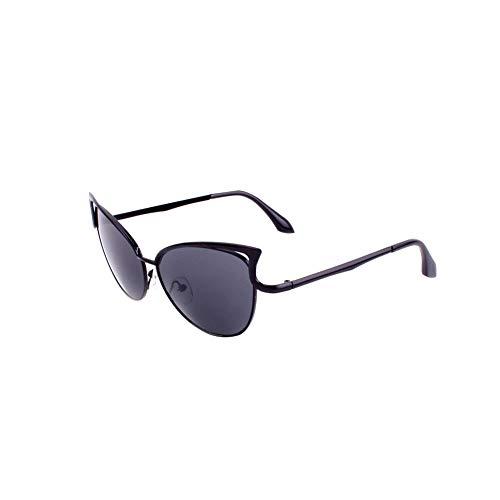 TrifyCore Lunettes de soleil Cat Eye Aviator Polarized Lunettes de soleil Protection Miroir Métal UV Lunettes pour Hommes Femmes Noir Cadre Gris Lens
