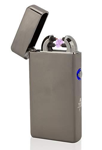 TESLA Lighter T08 Lichtbogen Feuerzeug, Schwarz gebürstet
