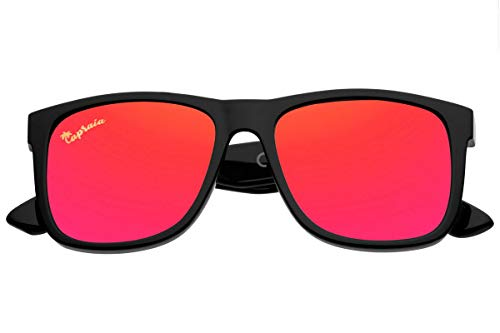 Capraia Rovello Classic Sunglasses Ultra Light High Quality TR90 Sportive Black Frame and Red Mirrored Polarised Lenses UV400 protected for Men