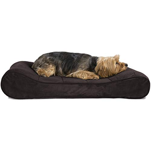 Furhaven Pet Dog Bed | Memory Foam Microvelvet Luxe Lounger Pet Bed for Dogs & Cats, Espresso, Medium