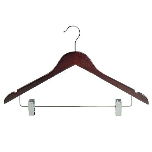HANGERWORLD Echtholz Kleiderbügel mit Hosen/Rock Clips und Einkerbungen, 25 Stück - Mahagoni - 45cm (Mahagoni-kleiderbügel)