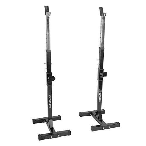 ScSPORTS Hantelständer Verstellbar mit Zwei Einzelnen Ständern, Schwarz, für 30 und 50mm Langhanteln, Langhantelständer