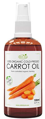 Bio-karotten-Öl (Karottenöl 100% Bio Kaltgepresst 100ml | Sichtbare, schöne Bräune | Leicht zu verteilen | schützt vor schädlichen UV-Strahlen | stellt ihre Elastizität, Weichheit und Glätte wieder her)