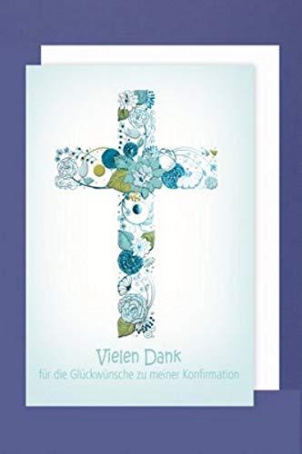 Feste Feiern Danksagungskarten zur Konfirmation I 5 Teile Danksagung Karten Doppelkarten mit Briefumschlägen I Blumen Kreuz Blau mehrfarbig