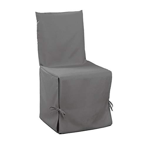 Douceur d'Intérieur Housse de Chaise Nouettes Polyester Uni Essentiel Gris,50 x 50 x 50 cm