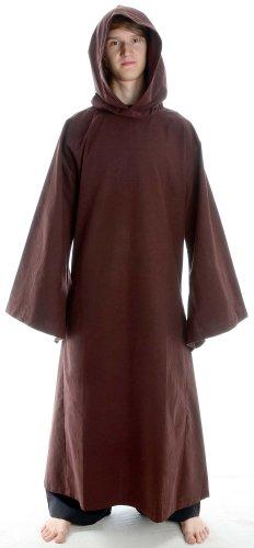 Mönch Robe Hochwertige (Mönchskutte Mittelalter Kleidung Kutte Mönchsrobe schwarz (L,)