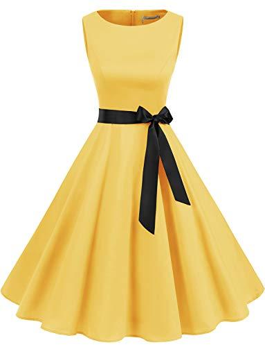 Gardenwed Robe Vintage Femme Années 40 50 60 Pin up Robe de Soirée Cocktail Cérémonie Style Audrey Hepburn Rockabilly Swing Col Rond sans Manche Yellow S