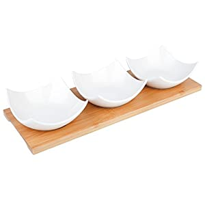 vancasso 4 teilig Set Servierschalen, Beinhaltet 3 Porzellan Eckig Dessertschalen mit 1 Tablett aus Bambus