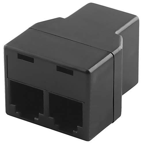 BestPlug Modular Telefon Adapter Verteiler Splitter Weiche Verbindungsstück, 1 RJ11 6P4C Buchse Kupplung weiblich auf 1 RJ11 6P4C Buchse Kupplung weiblich, Schwarz