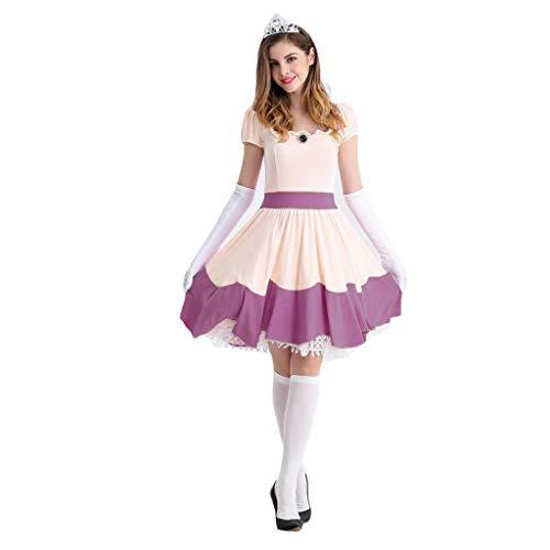 GanSouy Schneewittchen Kleiderkleidung Rollenspiel Uniform, Vergnügungspark Schneewittchen Rollenspiel Uniform, Halloween Party Makeup - Schneewittchen Halloween Für Make-up