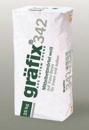 Gräfix 342 · Mittelbettmörtel · weiß a 25 kg Körnung 0-1,6 mm