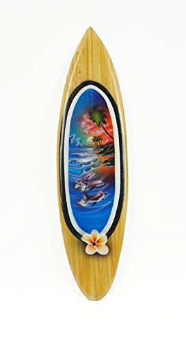 Asia Design Miniatur Surfboard Dekosurfboard Surfbrett Holz Wellenreiten Höhe 20 cm inkl. Holzständer Dekoration Nr 7