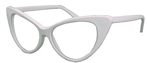 50er Jahre Damen Brille Cat Eye Nerdbrille Klarglas Brillengestell FARBWAHL KE (Weiss)