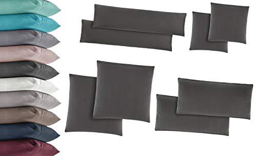 2er Pack Jersey Kissenbezug Kissenhülle Kissenbezüge Seitenschläferkissen 100% Baumwolle viele Größen und Farben 40x145 cm Taupe