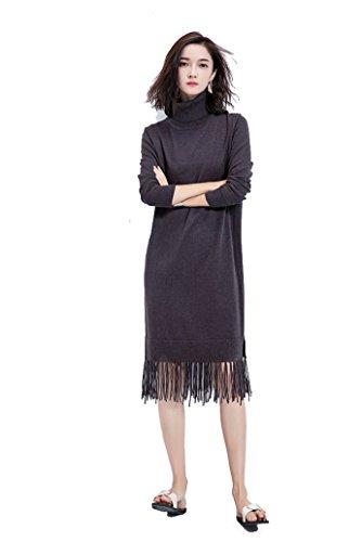 Y-YOUNG Warm Winter Rollkragen Kleider Mit Quasten Elegant Jerseykleid Viskose Alternativ Strickpullover Tunika Dunkelgrau Gr.38