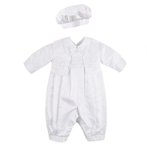 Agoky Unisex Baby Taufbekleidung 3pcs Bekleidungsset Jungen Taufanzug Festlich Mädchen Taufkleid Weiss Baumwolle Langarm Taufe Hochzeit Geburtstag Namentag Elfenbein S