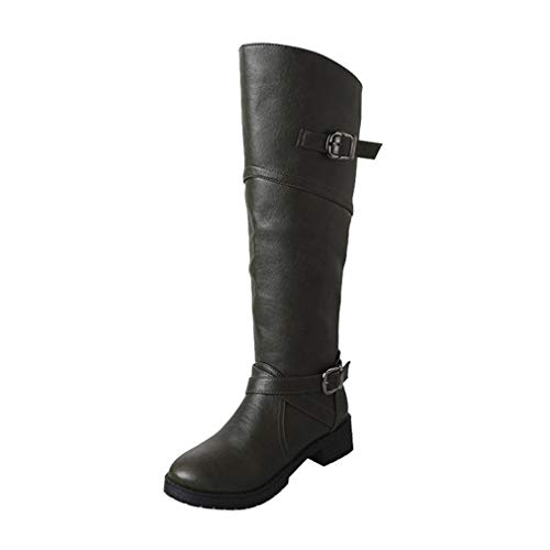 VJGOAL Damen Stiefel, Damen Mode Leder Ritter Schnalle Runde Kappe Faux Martin Stiefel Casual Flache Zip Winter warme Schuhe (Grün, 41 EU)