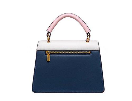 FZHLY Einfache Hit Farbe Handtasche Biene Verzierte Schultertasche White+PinkBlue