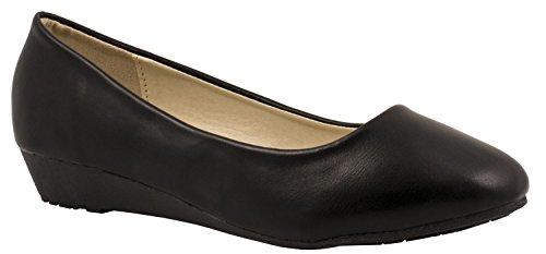 Elara Damen Pumps   Bequeme Keil Schuhe   Kleiner Keilabsatz Lederoptik Farbe Schwarz, Größe 37 (Keil Niedrige Bequeme)