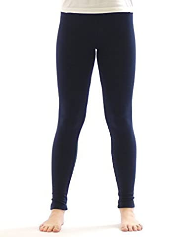 Kinder Thermo Mädchen Leggings leggins Hose lang aus Baumwolle Fleece Futter dunkelblau 146