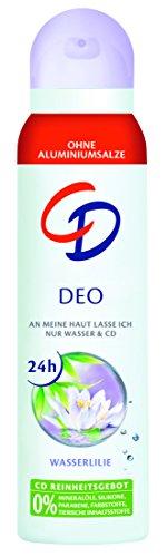 CD Deo Spray Wasserlilie – Deo Spray ohne Aluminium für 24 Std Schutz im Vorratspack – 6er Pack (6 x 150 ml)