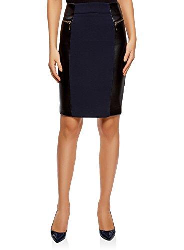 oodji Collection Mujer Falda con Cremalleras Decorativas e Inserciones de Piel Sintética, Azul, ES 42 / L