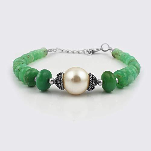 Apple Green Chrysopras Roundel Perlen mit Perlen Armband Sterling Silber Edelstein Perlen Schmuck Apple Green Armband