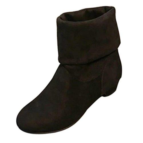 QinMM Stiefel Frauen Herbst Winter Süße Boot Stilvolle flache Herde Schuhe Schnee Stiefel (37, Schwarz) (Schwarze Herd Flache)