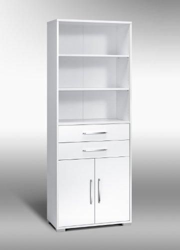 MAJA-Möbel 1233 3956 Aktenregal mit Schubladen und Türen, Icy-weiß - weiß Hochglanz, Abmessungen BxHxT: 80 x 214,5 x 40 cm
