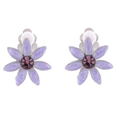 Clip On Earrings Store Ohrclips Emaille Violett & Rosa Crystal Daisy Flower Clip auf Ohrring