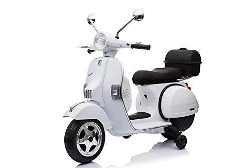 ATAA CARS Moto Vespa Officiel 12v électrique pour Enfants Licence Piaggio - Blanc