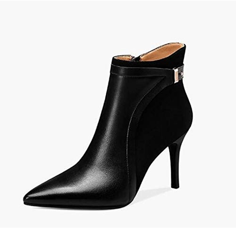 ZHZNVX Chaussures de réconfort Femme Bottes Bottes Femme d'automne en Cuir Nappa à Talon Aiguille Noir/Beige 530a7d