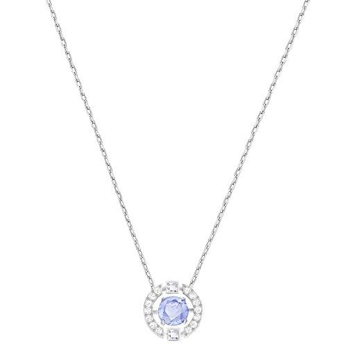 Swarovski Sparkling Dance Round Halskette, blau, rhodiniert