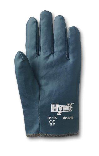 Ansell Hynit 32-105 Gants oléofuges, protection mécanique, Bleu, Taille 8 (Sachet de 12 paires)