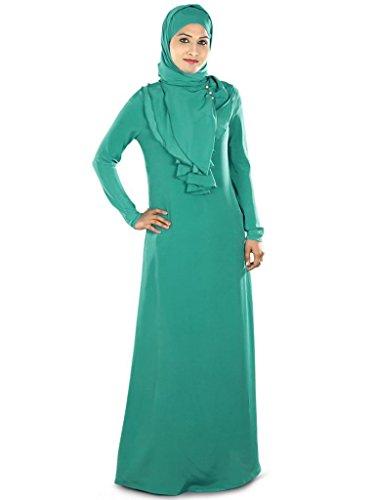 MyBatua Women's Crepe Abaya (AY280_Blue_X-Large)