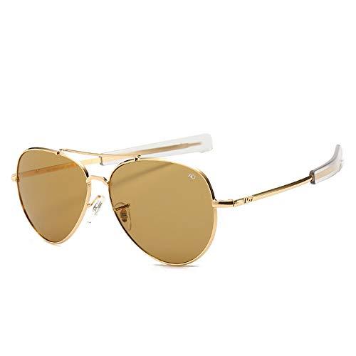 HUWAIYUNDONG Sonnenbrillen,Vintage Aviation Sunglasses Men American Army Military Optical Ao Sun Glasses Women Gold Tea