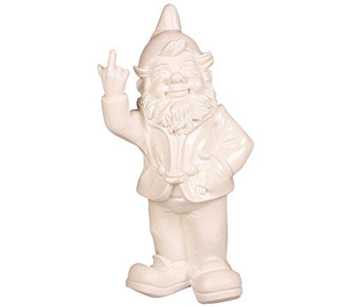 Stoobz Figurine Nain de Jardin avec Doigt d'honneur - pour la Maison & Jardin - Blanc - 15 x 12 x 32 cm