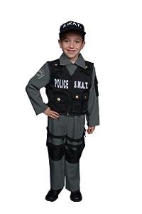 Dress up America - Disfraz de policía SWAT deluxe para niños, talla M, 8-10 años (327-M)