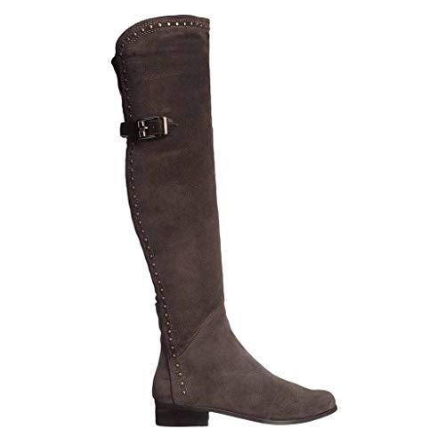 Xiaodun77 Womens Sexy Suede-Schenkel-hohe Overknee niedrige Ferse Flache Seiten-Reißverschluss-Knie-Stiefel-Schuhe Large Size Damen Nigh Verein,Grau,40 (Breites Boot Kalb Ultra)