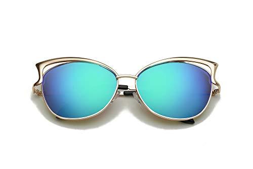 LKVNHP Cat Eye Spiegel Sonnenbrille Frauen Sonnenbrille Retro Vintage EyewearGreen Mirror