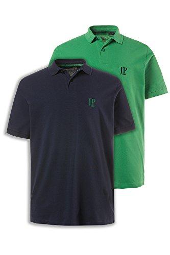 Lässige Cotton Polo Shirt (JP 1880 Herren Große Größen bis 7XL | Poloshirt Set | 100% Baumwolle | Shirt mit Kragen, Logo und Unifarben | Halbarm, Seitenschlitze & Cotton | Regular Fit | Waldgrün/Navy XXL 704317 49-XXL)