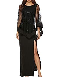 BLACKMYTH Donna Paillettes Layered Bodycon Sottile Slits Abito Festa Prom  Lungo Maxi Vestito con Voile Cape 132c4550e9a