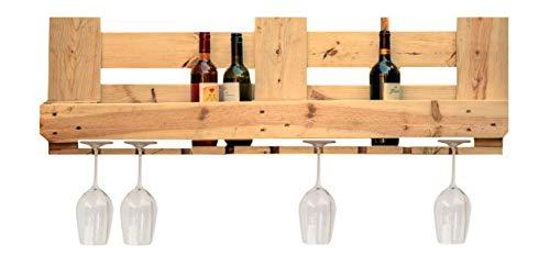 relaxedLiving Weinregal aus Paletten | groß | DIY Möbel | Aufbewahrung für Weinflaschen und Weingläser | Natur | unbehandeltes Holz (Paletten-holz-möbel)