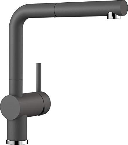 Blanco Linus-S, Küchenarmatur - Einhebelmischer mit ausziehbarer Schlauchbrause, felsgrau, Hochdruck, 1 Stück, 518813 -