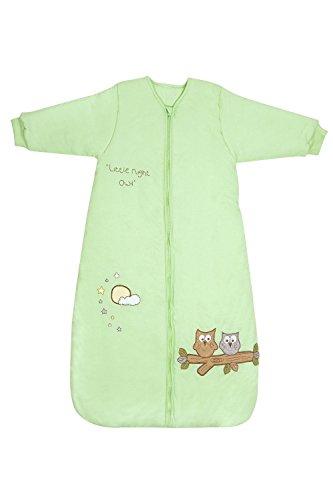 Schlummersack Baby Winter Schlafsack Langarm 3.5 Tog - Eule mintgrün Jersey - 0-3 Monate/56 cm