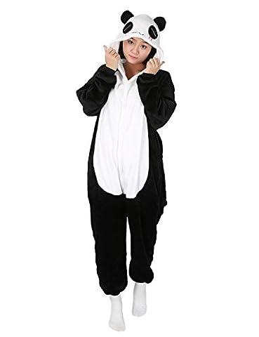 Panda Karneval Kostüme Pyjama Tieroutfit Tierkostüme Schlafanzug Tier Onesize Sleepsuit mit Kapuze Erwachsene Unisex Fleece-Overall (Pyjama Overall)