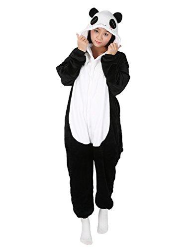 Panda Karneval Kostüme Pyjama Tieroutfit Tierkostüme Schlafanzug Tier Onesize Sleepsuit mit Kapuze Erwachsene Unisex Fleece-Overall (Panda Kostüm)