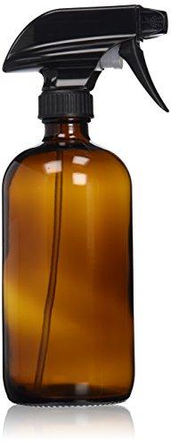 Sally's Organics Sprühflasche, Glas, bernsteinfarben, 470ml, robuster Sprühkopf in Schwarz mit Dampf- und Strahl-Einstellung