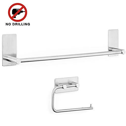 Accessorio Bagno Set 2 Pezzi di Porta Carta Igienica ed Porta Asciugamano Set Accessori Bagno acciaio inox